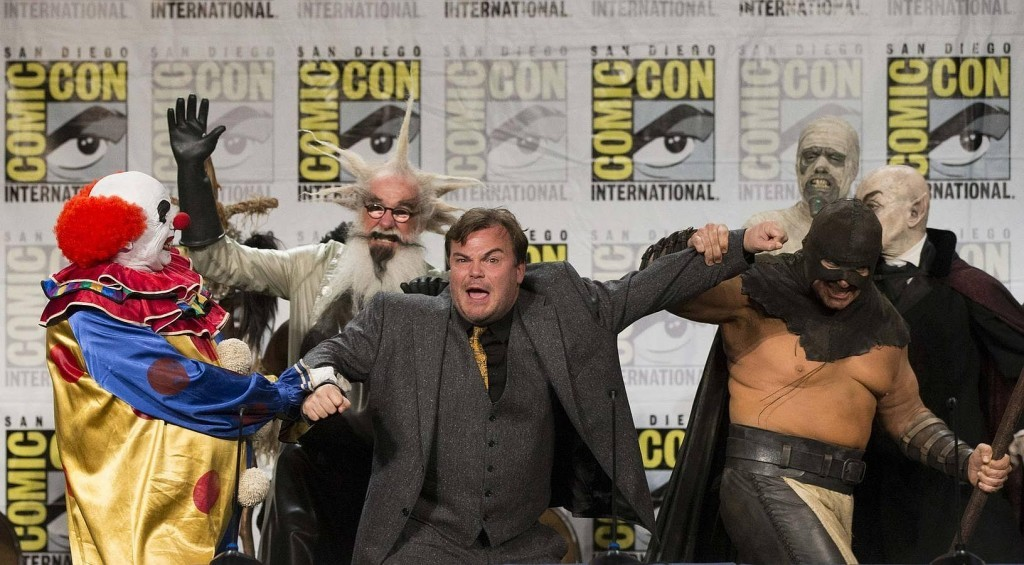 "Cast member Jack Black is escorted off stage by characters from the movie ""Goosebumps"" at its panel during the 2014 Comic-Con International Convention in San Diego, California July 24, 2014.  REUTERS/Mario Anzuoni (UNITED STATES - Tags: ENTERTAINMENT TPX IMAGES OF THE DAY)"