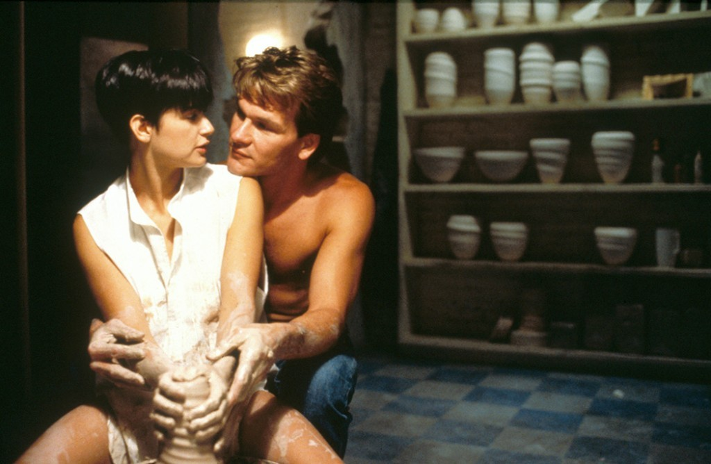 RELEASE DATE: July 13, 1990. MOVIE TITLE: Ghost. STUDIO: Paramount Pictures. PLOT: Sam and Molly are a very happy couple and deeply in love. Walking back to their new apartment after a night out at the theatre, they encounter a thief in a dark alley, and Sam is murdered. He finds himself trapped as a ghost and realises that his death was no accident. He must warn Molly about the danger that she is in. But as a ghost he can not be seen or heard by the living, and so he tries to communicate with Molly through Oda Mae Brown, a psychic who didn't even realise that her powers were real. PICTURED: DEMI MOORE as Molly Jensen, and PATRICK SWAYZE as Sam Wheat. (Credit Image: © Paramount Pictures/Entertainment Pictures/ZUMAPRESS.com)