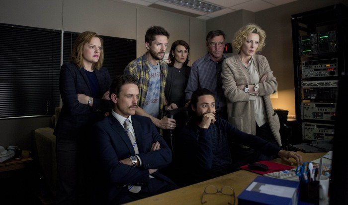 """Truth"": Left to right: Elisabeth Moss as Lucy Scott, David Lyons as Josh Howard, Topher Grace as Mike Smith, Natalie Saleeba as Mary Murphy, Dennis Quaid as Lt. Colonel Roger Charles, Adam Saunders as Tom and Cate Blanchett as Mary Mapes. from Sony Classics press site"