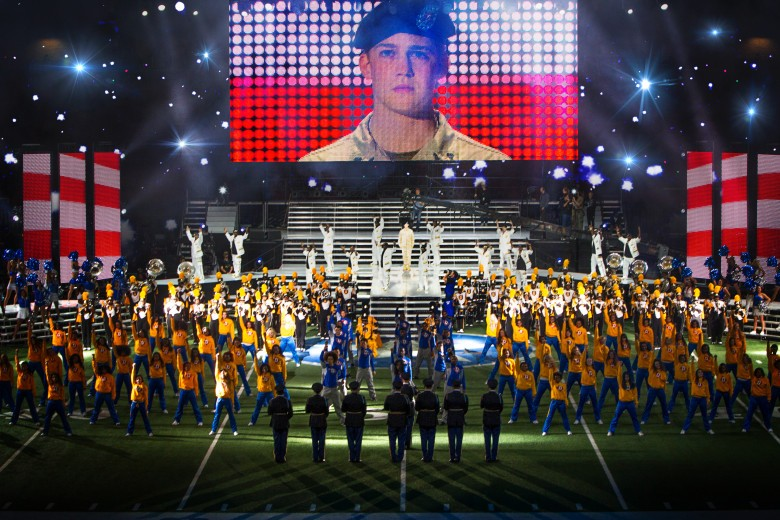 Billy Lynn (Joe Alwyn), dancers, and Alabama State Marching Hornets in TriStar Pictures' BILLY LYNN'S LONG HALFTIME WALK.