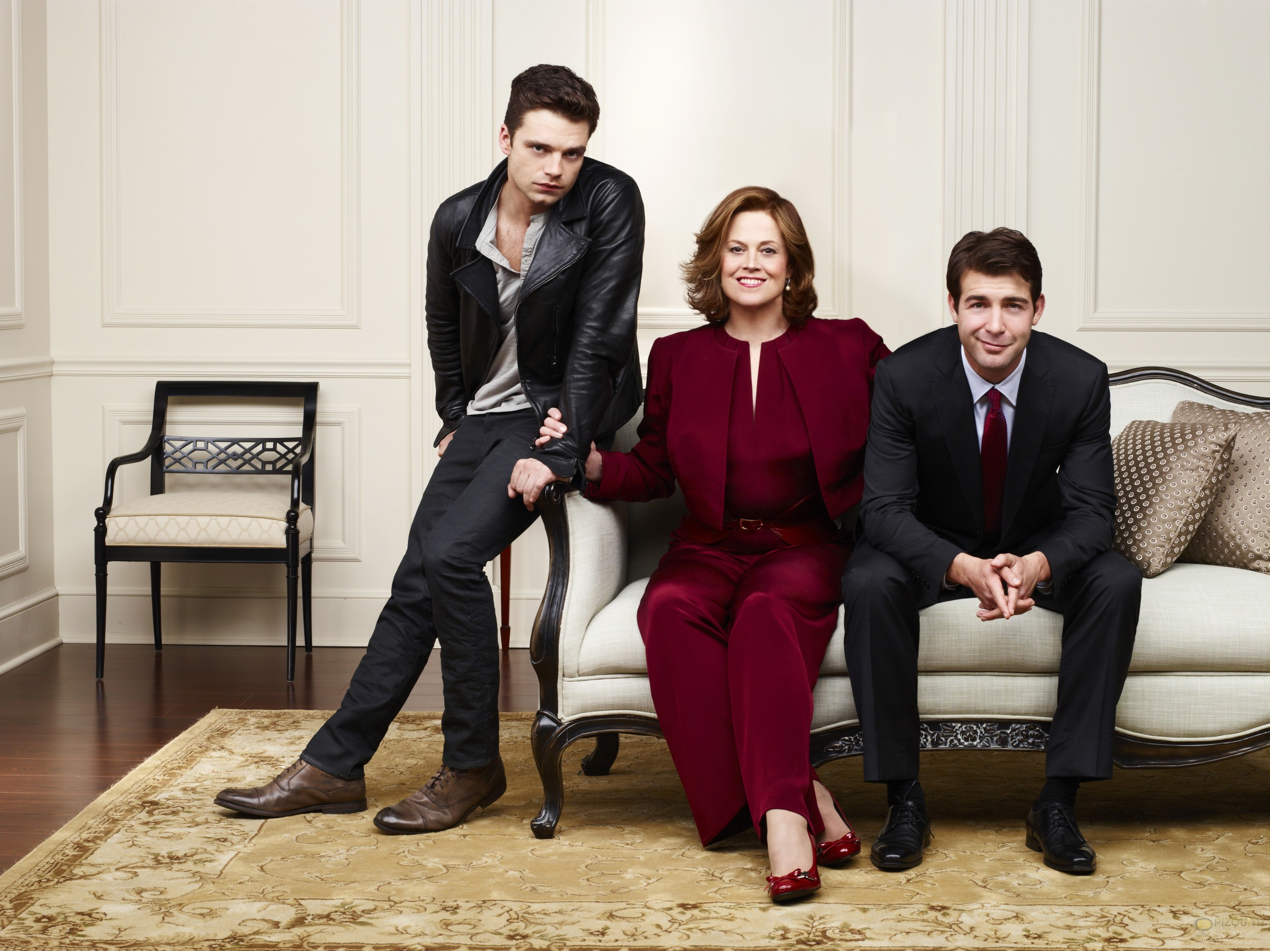 POLITICAL ANIMALS -- Season: 2012 -- Pictured: (l-r) Sebastian Stan as TJ Hammond, Sigourney Weaver as Elaine Barrish, James Wolk as Doug Hammond -- (Photo by: Andrew Eccles/USA Network)